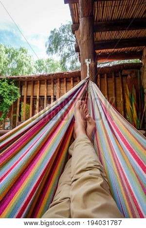 Relaxing In Hammock