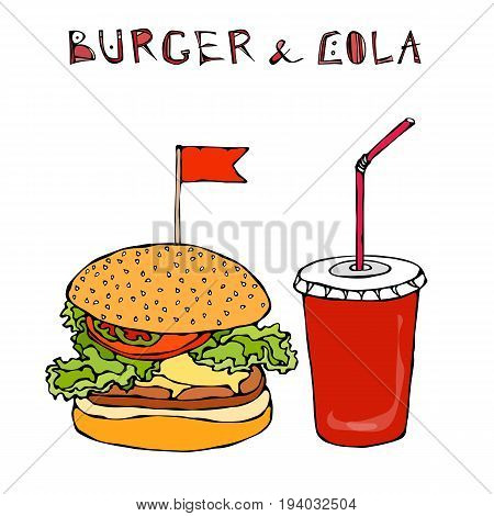 Big Burger, Hamburger or Chisburger and Soft Drink Soda or Cola. Fast food takeout icon. Takeaway food sign. Realistic Hand Drawn Doodle Sketch. Vector Illustration Isolated On a White Background.