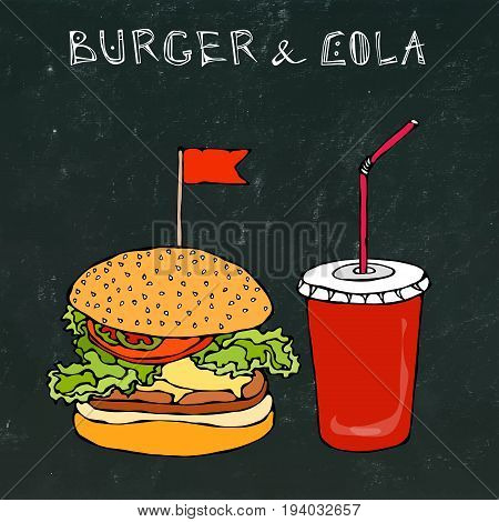 Big Burger, Hamburger or Chisburger and Soft Drink Soda or Cola. Fast food takeout icon. Takeaway food sign. Vector Illustration Isolated on a Black Chalkboard Background. Realistic Hand Drawn Doodle
