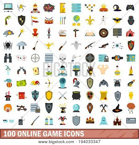 100 online game icons set in flat style for any design vector illustration