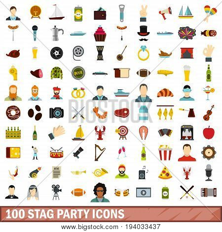 100 stag party icons set in flat style for any design vector illustration