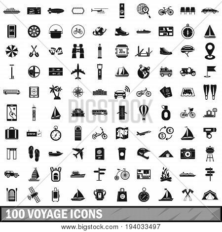 100 voyage icons set in simple style for any design vector illustration