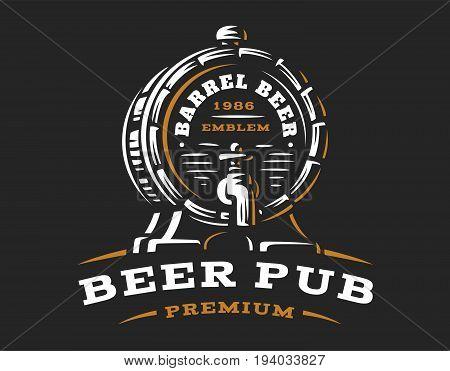 Wooden beer barrel logo - vector illustration, emblem brewery design on black background