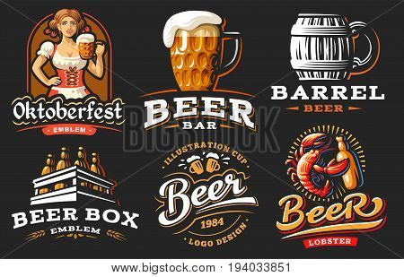 Set beer logo - vector illustration, emblem brewery design on black background