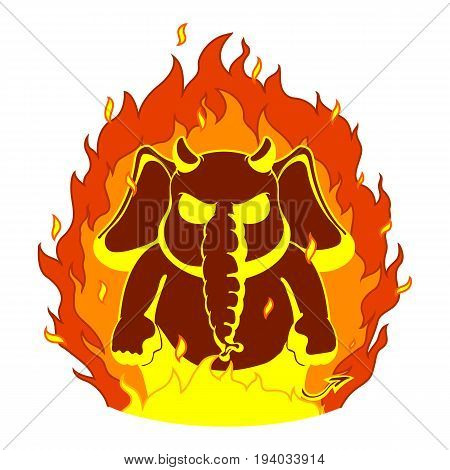Elephant. Character. The evil red horns, fire. Devil. Big collection of isolated elephants. Vector, cartoon.