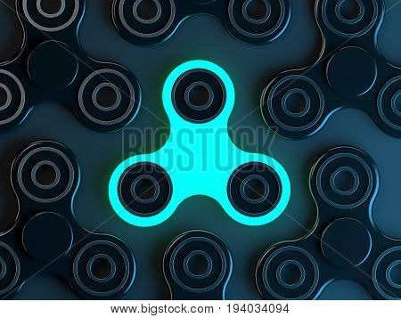Luminous Fidget spinner stress relieving toy on dark background