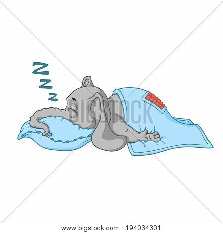 Elephant. Character. He sleeps with a deep sleep, covered with a blanket. Big collection of isolated elephants. Vector, cartoon.