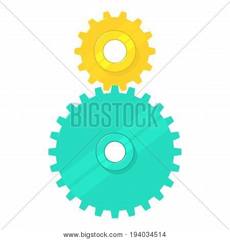 Cogged gears icon. Cartoon illustration of cogged gears vector icon for web isolated on white background