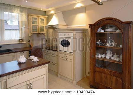 Classic kitchen area of a home.
