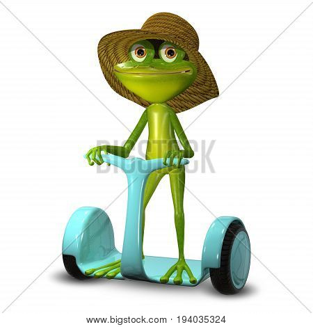3d Illustration Green Frog in a Hat on Scooter