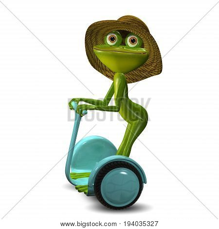 3d Illustration of the Green Frog in the Straw Hat in Scooter