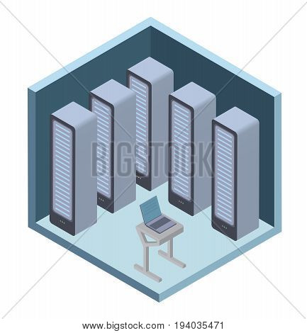 Data center icon, server room. Vector illustration in isometric projection, isolated on white background.