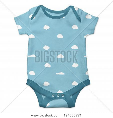 Baby onesie with clouds pattern isolated over white background