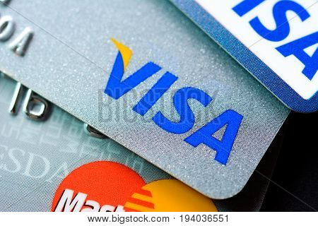Bangkok Thailand - Jun 23 2015 : Group of credit cards with VISA and MasterCard brand logos