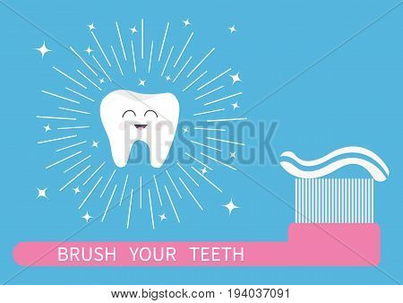 Brush your teeth. Tooth icon. Big toothbrush with toothpaste. Round line shining circle sparkle stars. Cute cartoon smiling character. Oral dental hygiene. Health care. Baby background. Flat Vector