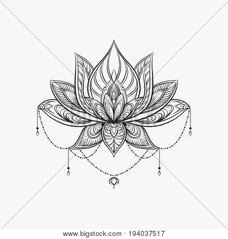Filigree lotus flower, vector hand drawn illustration