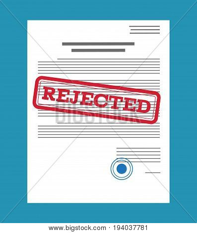 Rejected paper document, red rejected stamp. Vector flat illustration in flat style