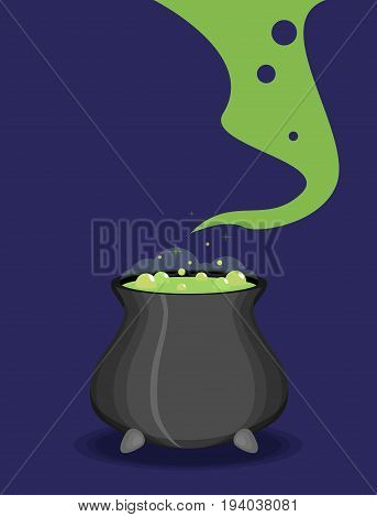 Color Witch Pot With Potion In Cartoon Style.