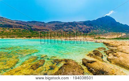 Balos Beach Lagoon And Gramvousa Island On Crete Greece.