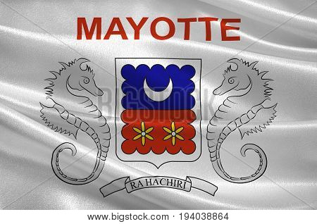 Flag of Mayotte is an insular department and region of France officially named Departement de Mayotte. 3d illustration