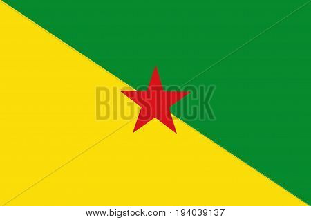 Flag of French Guiana is an overseas department and region of France located on the north Atlantic coast of South America in the Guyanas