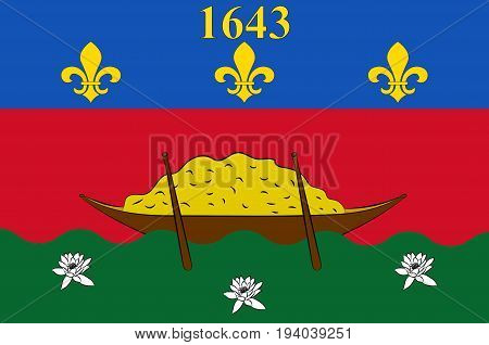 Flag of French Guiana is an overseas department and region of France located on the north Atlantic coast of South America in the Guyanas.