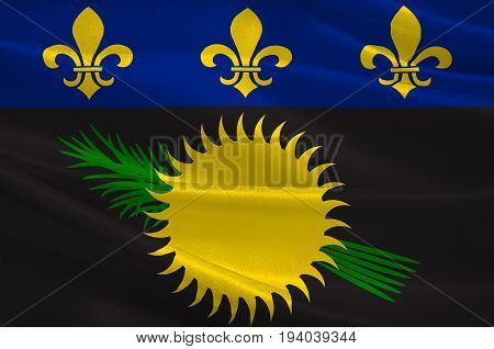 Flag of Guadeloupe is an insular region of France located in the Leeward Islands part of the Lesser Antilles in the Caribbean. 3d illustration