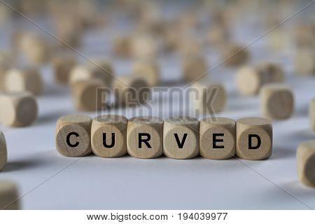 Curved - Cube With Letters, Sign With Wooden Cubes