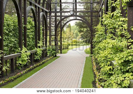Alcove in the parkSurrounded by a beautiful bush a wooden gazebo of high quality a well-groomed lawn and flowers with a stone path leading into the distance
