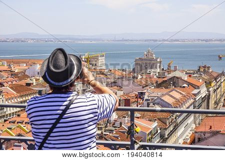 Taking pictures of Lisbon from Santa Justa Elevator - LISBON - PORTUGAL 2017