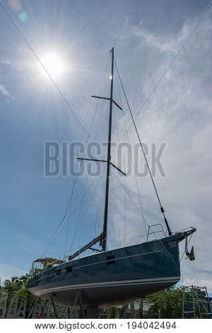 Sailing boat waiting for service and repair Phuket in Thailand