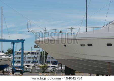 Motor yacht waiting for repair and maintenance.