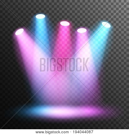 Scene illumination. Stage. Spotlight disco. Colorful light. Floodlights illuminate the scene. Transparent background.
