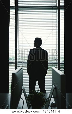 Confident ambitious businessman looking through the window of his office, view from the back