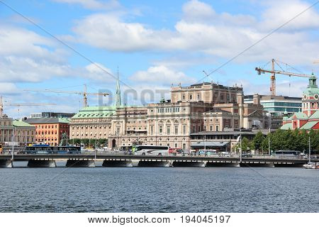 View of famous Swedish  Royal Opera House (Kungliga Operan) is  premier stage for opera and ballet. The neoclassical building was designed by Axel Anderberg. Stockholm, Sweden.