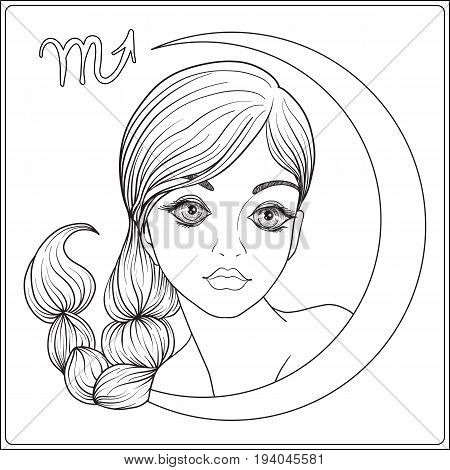 Capricornus,  scorpion. A young beautiful girl In the form of one of the signs of the zodiac.  Outline hand drawing coloring page for adult coloring book. Stock line vector illustration.