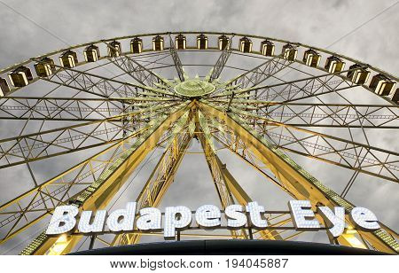 BUDAPEST HUNGARY - MAY 5: Ferris wheel called Budapest eye in Budapest on May 5 2017