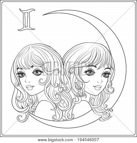 Gemini,  twins. A young beautiful girls In the form of one of the signs of the zodiac.  Outline hand drawing coloring page for adult coloring book. Stock line vector illustration.