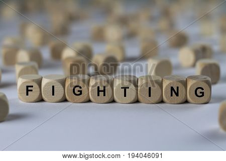 Fighting - Cube With Letters, Sign With Wooden Cubes