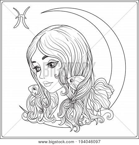 Pisces. A young beautiful girl In the form of one of the signs of the zodiac.  Outline hand drawing coloring page for adult coloring book. Stock line vector illustration.