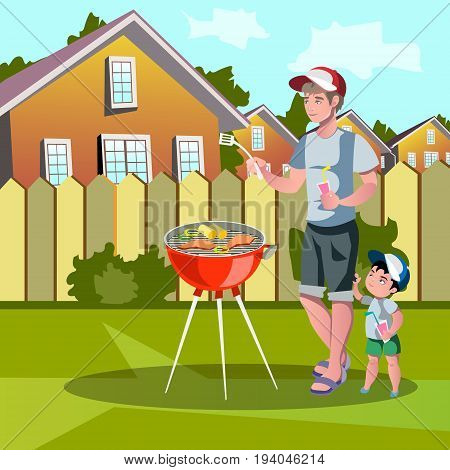 vector illustration of family enjoying barbecue outdoors