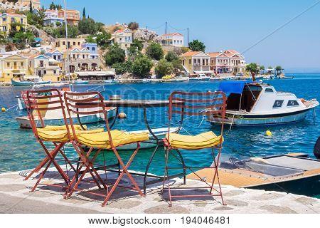 Sidewalk cafe on Symi. Dodecanese Islands Greece Europe