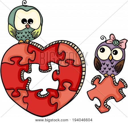 Scalable vectorial image representing a cute owls with heart shaped puzzle, isolated on white.