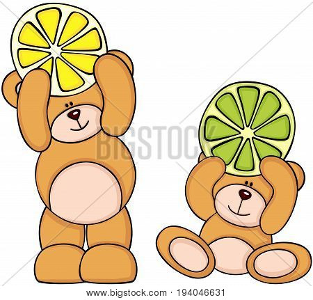 Scalable vectorial image representing a teddy bears holding citrus fruit slices, isolated on white.