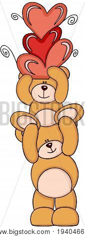 Scalable vectorial image representing a teddy bears with hearts, isolated on white.