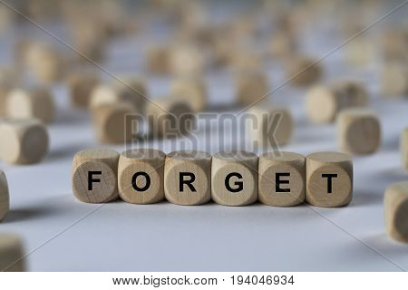 Forget - Cube With Letters, Sign With Wooden Cubes