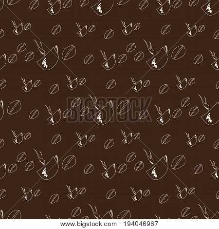 Seamless coffee pattern on brown background outline