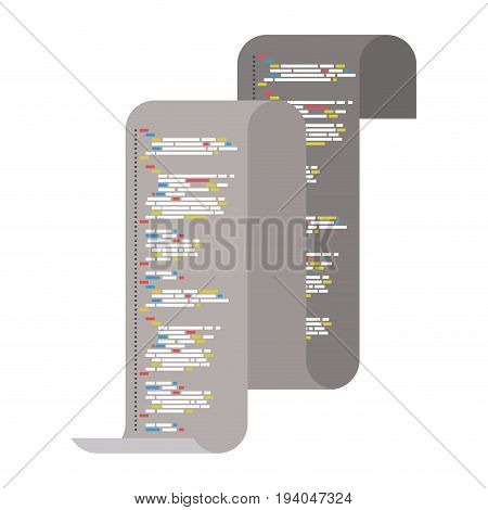 gray silhouette of continuously sheet with printed source code vector illustration