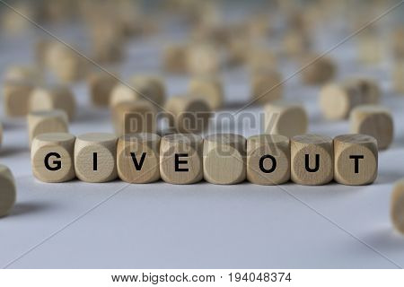 Give Out - Cube With Letters, Sign With Wooden Cubes