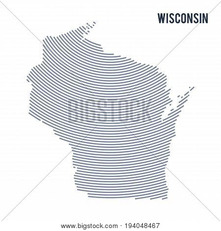 Vector abstract hatched map of of State of Wisconsin with curve lines isolated on a white background. Travel vector illustration.
